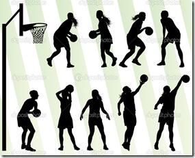 Women basketball vector background silhouette set