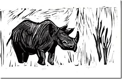linocut rhino