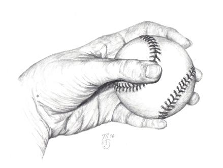 hand and baseball