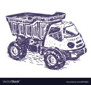 Toy truck vector realistic hand drawing sketch
