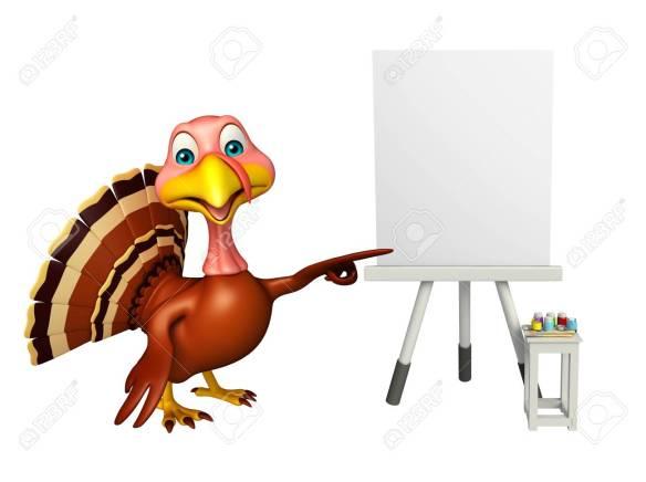 fun Turkey cartoon character with easel board
