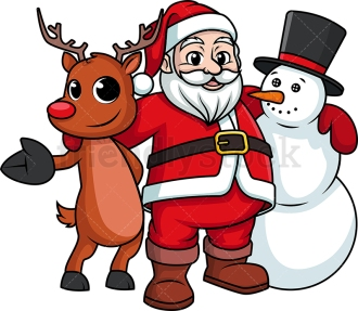 Royalty-free stock illustration of Santa Claus holding Rudolph the red nosed reindeer and a snowman in his hug, in true Christmas spirit.